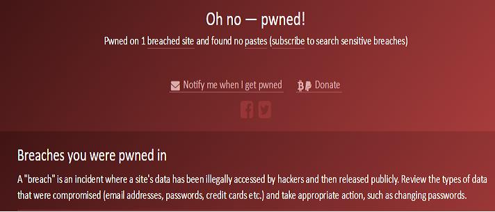 La página web nos emitirá una alerta de este tipo en caso de haber sido hackeados
