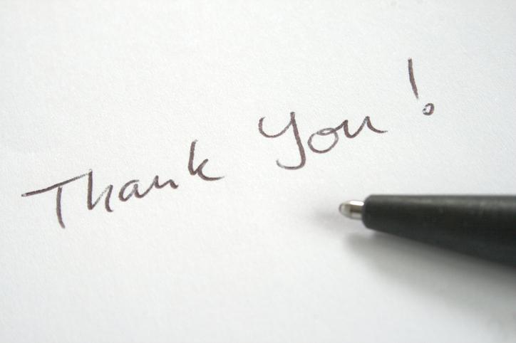 Nota de agradecimento profissional