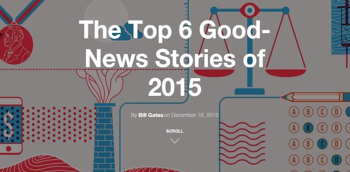 """<p>El empresario informático más talentoso del mundo, <strong>Bill Gates</strong>, lleva un <strong>blog personal</strong> donde comparte historias y consejos entre sus seguidores. A fines de 2015 -como lo hace desde hace tres años- Gates elaboró una lista de lo que considera el top 6 de buenas noticias del año. Conoce el top 6 de buenas noticias del año según Bill Gates.</p><p></p><p><span style=color: #ff0000;><strong>Lee también</strong></span></p><p><a style=color: #666565; text-decoration: none; title=<br />Premio Nobel de Literatura 2015 href=https://noticias.universia.com.ec/cultura/noticia/2015/10/12/1132273/premio-nobel-literatura-2015.html target=_blank>» <strong>Premio Nobel de Literatura 2015</strong></a><br/><a style=color: #666565; text-decoration: none; title=<br />Ecuador pasa a formar parte de la Red de Ciudades Creativas de Unesco href=https://noticias.universia.com.ec/cultura/noticia/2015/12/17/1134830/ecuador-pasa-formar-parte-red-ciudades-creativas-unesco.html target=_blank>» <strong>Ecuador pasa a formar parte de la Red de Ciudades Creativas de Unesco</strong></a><br/><a style=color: #666565; text-decoration: none; title=8 películas que todo jóven profesional no puede dejar de mirar href=https://noticias.universia.com.ec/en-portada/noticia/2014/06/19/1099290/8-peliculas-joven-profesional-puede-dejar-mirar.html target=_blank>» <strong>8 películas que todo jóven profesional no puede dejar de mirar</strong></a></p><p></p><p>Gates asegura que """"este es un <strong>momento difícil para sentirse optimista sobre el futuro</strong> (…) debido a que nuestras pantallas han estado dominadas durante meses por las historias sobre el terrorismo y la guerra, oscureciendo el panorama completo de lo que está sucediendo en todo el mundo""""; pero a pesar de esto decide <strong>compartir una</strong><strong>lista de buenas noticias</strong> con sus seguidores. Conócela a continuación.</p><p></p><p><strong>Top 6 de buenas noticias del 2015 según Bill Gates</strong></p>"""
