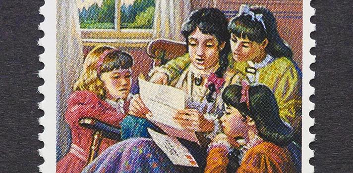 Sello postal lanzado en Estados Unidos en 1993 ilustrando la novela más famosa de L.M.Alcott, Mujercitas