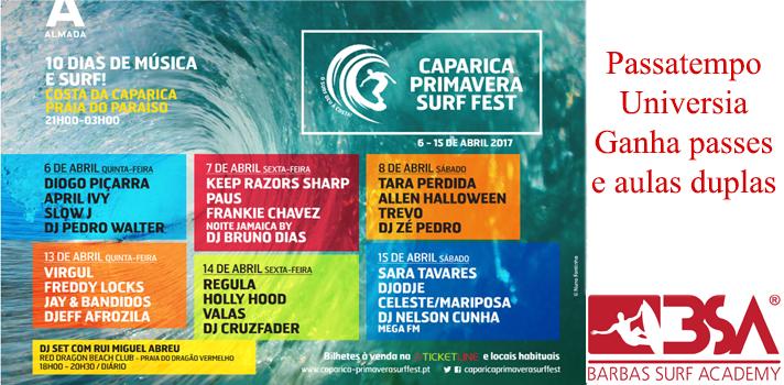Passatempo Universia Caparica Primavera Surf Fest