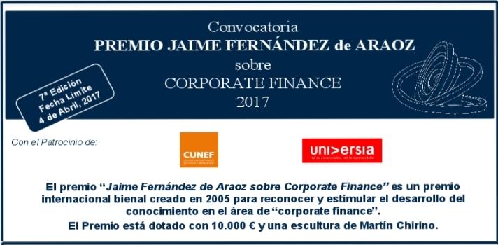 Llega la VII edición del Premio Jaime Fernández de Araoz sobre Corporate Finance.