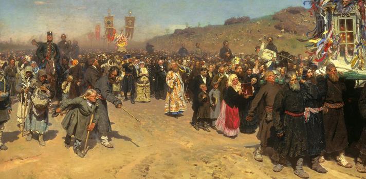 Arte do Dia: Procissão Religiosa a Kursk de Ilya Repin