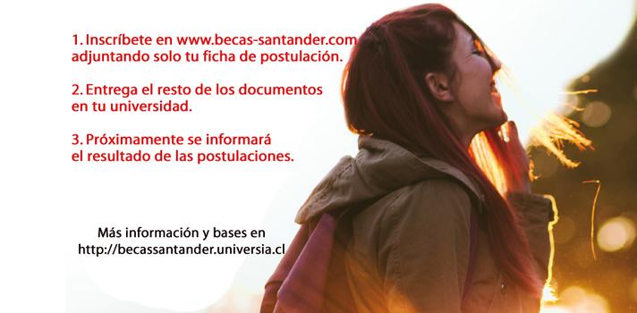 <p>Hasta el <strong>lunes 30 de octubre</strong> se amplió el período de inscripciones para la versión 2017 de las Becas de Movilidad Internacional de Santander Universidades. Como todos los años, la convocatoria busca potenciar el desarrollo académico de los estudiantes a través de un intercambio de un semestre en el extranjero.</p><p>El proceso de postulación, selección e inscripción de los becados deberá realizarse a través del sitio<a href=https://www.becas-santander.com/>www.becas-santander.com</a>. Es muy importante que cada uno de los interesados complete su ficha de postulación a través del sitio web, para posteriormente entregar toda la documentación necesaria en su casa de estudios. Los resultados serán publicados en próximamente en<a href=https://www.santander.cl/>www.santander.cl</a>y<a href=https://becassantander.universia.cl/>becassantander.universia.cl</a>.</p><p>Los beneficiarios recibirán 5.000 dólares, aporte que será compatible con otras ayudas financieras que puedan obtener. Por su parte, los alumnos que se adjudiquen esta beca deberán cursar sus estudios hasta<strong>el 31 de diciembre de 2018</strong>.</p><p>Las bases del concurso pueden ser revisadas<a href=https://servicios.universia.cl/contenidos/newsletter/informativos/otros/2017/bases%20becas%20movilidad%20internacional%202017.pdf>aquí.</a></p><p><strong>Programa de Apoyo a la Educación Superior (PAES)</strong></p><p>Banco Santander es la empresa que más invierte en apoyo a la educación en el mundo (Informe Varkey/UNESCO-Fortune 500). A través de Santander Universidades mantiene más de 1.200 acuerdos de colaboración con universidades e instituciones académicas de todo el mundo y en Chile colabora con 53 universidades de todo el país.</p><p>Más información en:<a href=https://www.santander.cl/universidades>www.santander.cl/universidades</a></p><p></p>