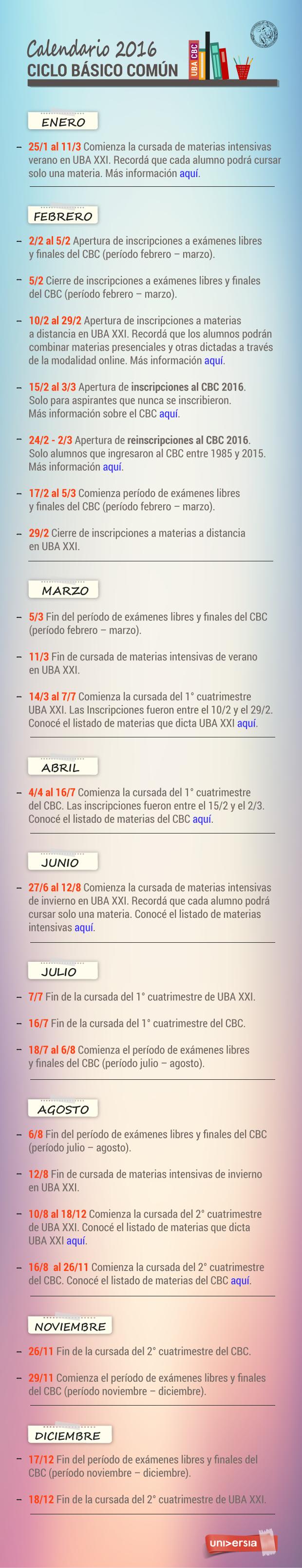 Calendario 2016 Ciclo básico común