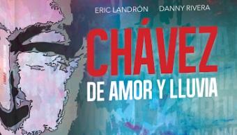 """Tapa del Libro """"Chávez de Amor y Lluvia"""" del poeta y profesor Eric Landrón y del cantautor Danny Rivera."""