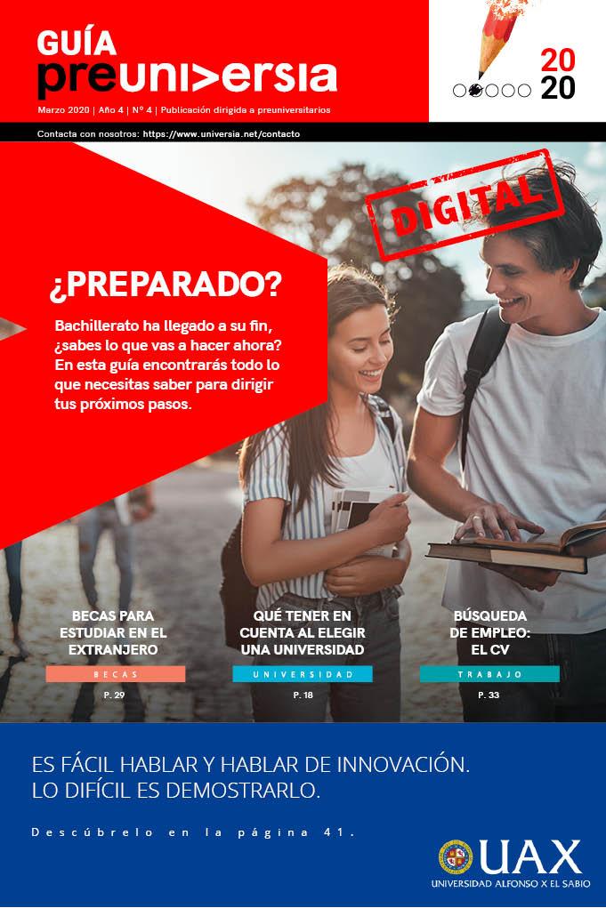 <p dir=ltr><span>El gran desafío de los jóvenes una vez que han finalizado el instituto es la toma de decisiones que marcarán su futuro profesional, por lo que para hacerlo necesitan contar con toda la información y asesoría posible.</span></p><p dir=ltr><span>En este dificil camino, Universia, red de referencia para los estudiantes de Iberoamérica, lanza su nuevo número de la </span><a href=https://www.universia.es/preuniversitarios/guiapreuniversia target=_blank><span>Guía Preuniversia Digital</span></a><span>, enfocada a estudiantes preuniversitarios para ser uno de los recursos que utilicen a la hora de afrontar algunas de las decisiones que marcarán su futuro universitario y profesional, ayudándoles en la elección de la mejor opción tras el Instituto, que tener en cuenta al elegir una universidad, la gestión de expectativas, pruebas de acceso, salidas profesionales, becas para estudiar en el extranjero, etc…</span></p><h2><span>¿Qué se puede encontrar en esta guía?</span></h2><p dir=ltr><span>Ahora que has terminado el instituto, el primer paso es conocer el enorme abanico de posibilidades entre las que elegir, como: pasar un año sabático y aprovechar para viajar al extranjero, trabajar, ir a la Universidad, realizar Formación Profesional que es una interesante alternativa a la Educación Superior, emprender, opositar…<br/><br/></span></p><p dir=ltr><span>Otro de los mayores dilemas a los que te enfrentarás, es si decantarte por una titulación con amplias oportunidades laborales o si dejarte llevar por una opción más acorde a tus gustos. Hay ocasiones en las que ambas coinciden, pero ¿qué hacer cuando vocación y empleabilidad no conviven? En esta guía te ayudaremos a decidir, pero también es importante que a la hora de elegir qué estudiar tengas en cuenta cuáles son aquellas capacidades que te hacen único, y busques campos profesionales que te permitan ponerlas en práctica. Así, será más sencillo que mantengas la motivación y crezcas en tu vida laboral.<br/></sp