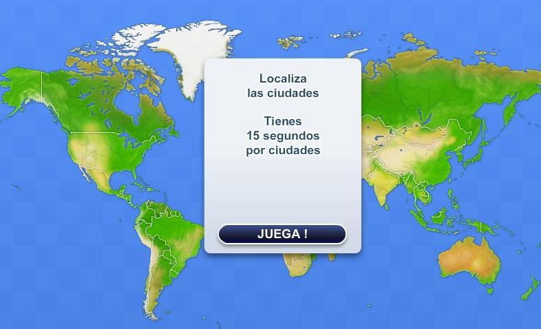 Mapa para situar las ciudades del Mundo