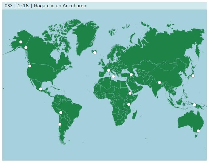 Mapa con Montañas y Volcanes del Mundo