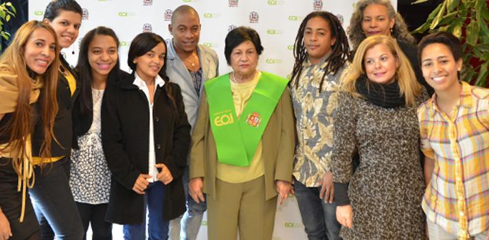 Encuentro de la ministra de Educación Superior, Ciencia y Tecnología de República Dominicana, Ligia Amada Melo, con alumnos becarios de MESCyT en su visita a EOI Madrid.
