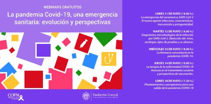 """Participa en el ciclo de webinars gratuitos: """"La pandemia Covid-19, una emergencia sanitaria: evolución y perspectivas"""""""