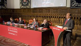 Emilio Botín y su intervención ante la XIV Junta General de Accionistas de Universia.