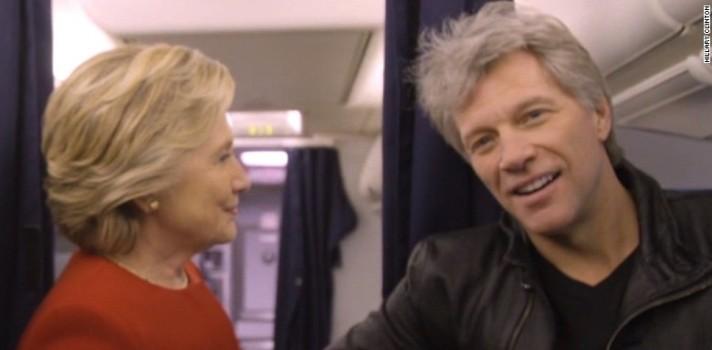 Hillary Clinton y Jon Bon jovi