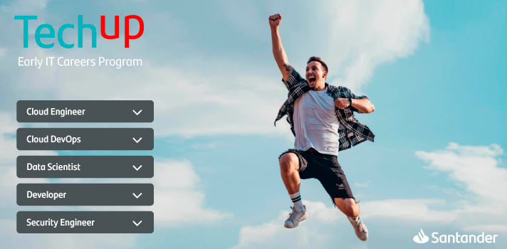 Santander lanza TechUp, un programa de desarrollo profesional para jóvenes con perfiles tecnológicos
