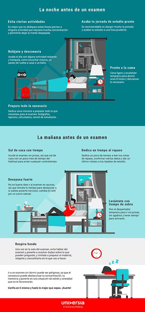Infografía: 10 consejos para la noche y la mañana antes de un examen