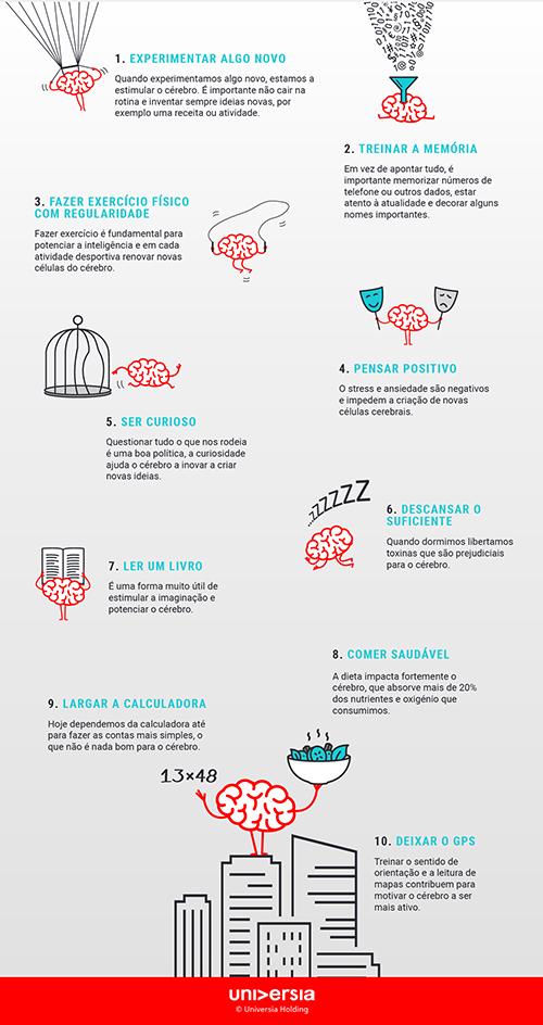 Infografía: 10 formas simples de aumentar a capacidade cerebral