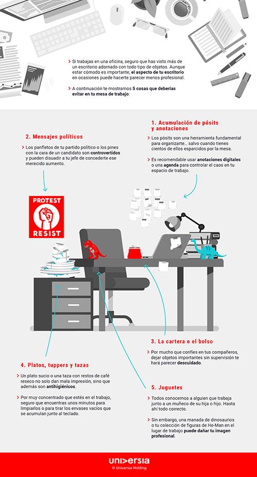 Infografía: 5 cosas de tu mesa de trabajo que te hacen parecer poco profesional