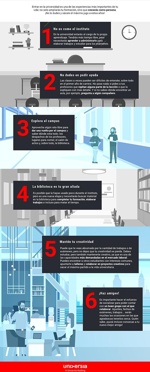 Infografía: 6 consejos para empezar la universidad con buen pie
