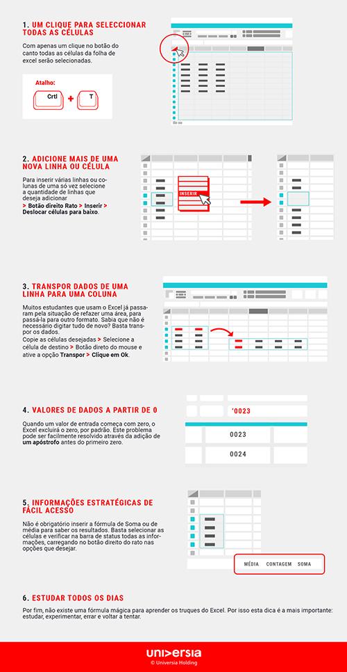 Infografía: 6 truques de Excel essenciais para estudantes