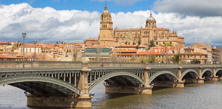 La Catedral de Salamanca y el puente Enrique Estevan sobre el río Tormes.
