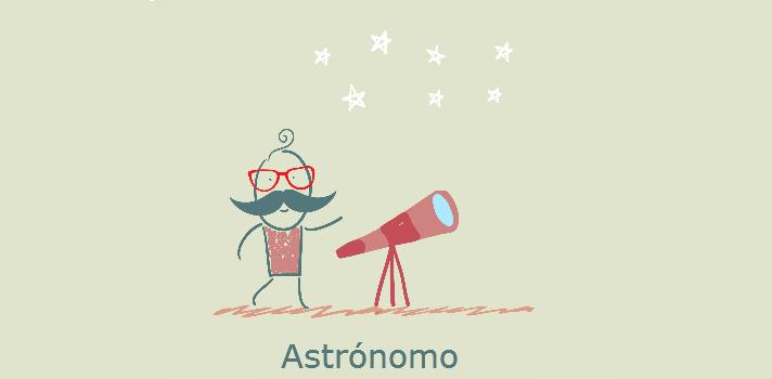 Astrónomo con telescopio