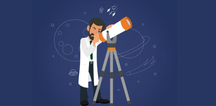 Astrónomo mirando a través del telescopio