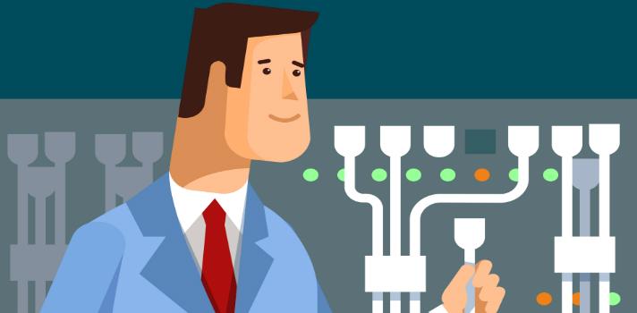 Administrador de redes trabajando con equipos de hardware en un centro de datos