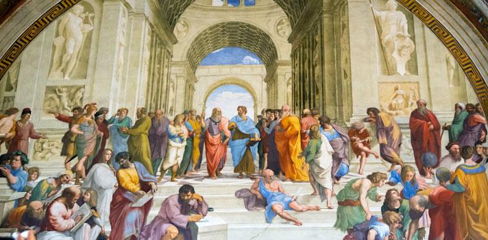 La Escuela de Atenas. Obra realizada por el pintor renacentista Rafael Sanzio. Aparecen representados filósofos reconocidos como Platón y Aristóteles.