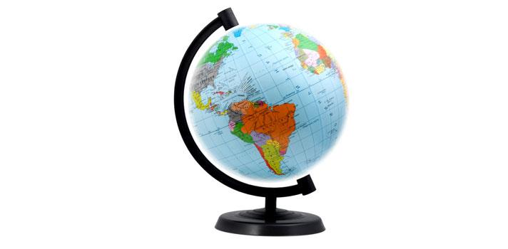 Globo terráqueo: representación del Planeta Tierra