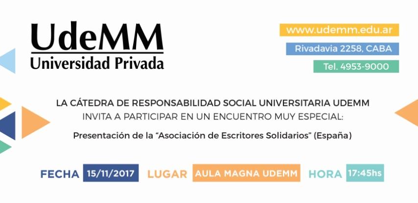 El <strong>miércoles 15 de noviembre</strong> a las 17.45, en el Aula Magna de la<a href=https://www.udemm.edu.ar/ title=UdeMM target=_blank>Universidad de la Marina Mercante</a> (Av. Rivadavia 2258, CABA) se realizará una actividad abierta al público y gratuita con el objetivo de promover el compromiso social y la solidaridad en los futuros profesionales.<span><br/><br/><span>En la primera parte del encuentro, la Lic. Silvia Gabriela Vázquez (Directora de la Cátedra) se referirá a los siguientes temas</span>: Garantizar una educación inclusiva y equitativa para todos y Compromiso social aplicado: cómo formar profesionales competentes, comprometidos y resilentes, además de la presentación de la revista virtual solidaria a beneficio de CILSA (ONG por la inclusión).<br/><br/>A su vez,<span>se realizará la presentación</span><span>de la Asociación de escritores solidarios, encabezada por la española María Mar Olayo, presidenta de la asociación, artista plástica y escritora.</span><br/><br/>Para más información e inscripción, enviar nombre completo, e-mail y DNI a <strong>extension@udemm.edu.ar</strong></span>
