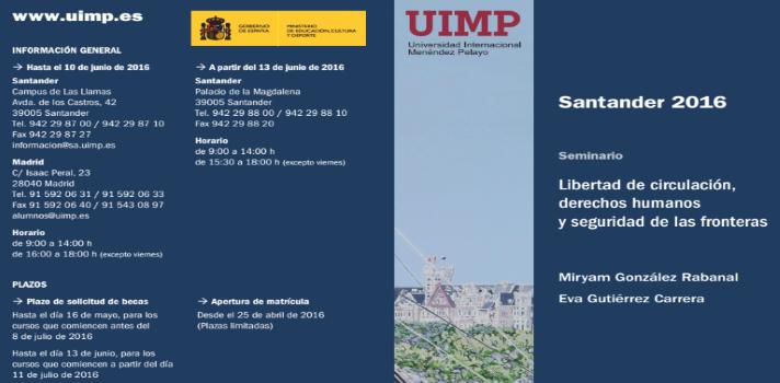Curso de verano de la UIMP sobre Libertad de circulación, derechos humanos y seguridad de las fronteras.