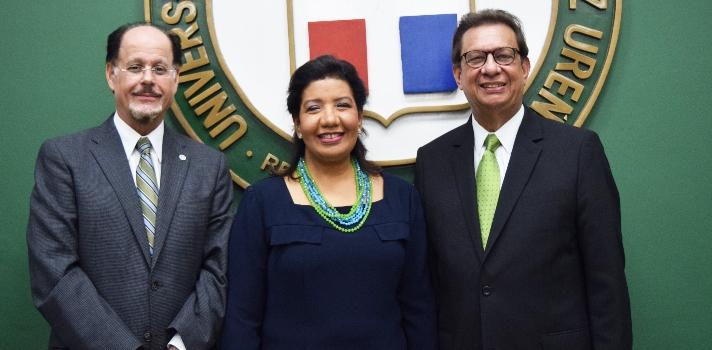 Licenciado Eugenio Garrido Saviñón, magistrada Leyda Margarita Piña Medrano; y el Rector de la UNPHU&44; arquitecto Miguel Fiallo Calderón